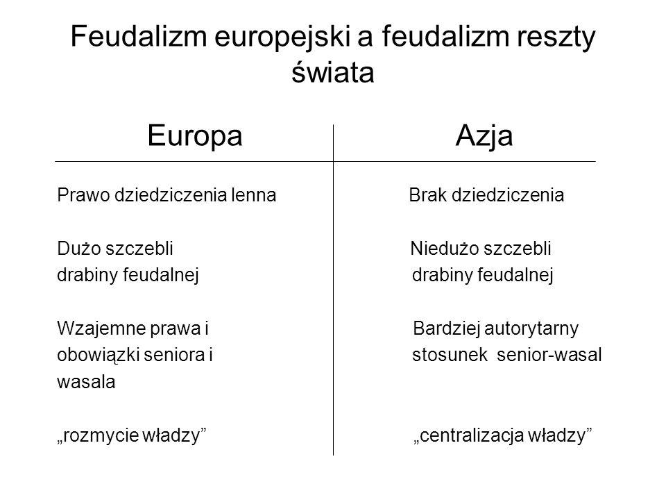 Feudalizm europejski a feudalizm reszty świata Europa Azja Prawo dziedziczenia lenna Brak dziedziczenia Dużo szczebli Niedużo szczebli drabiny feudaln