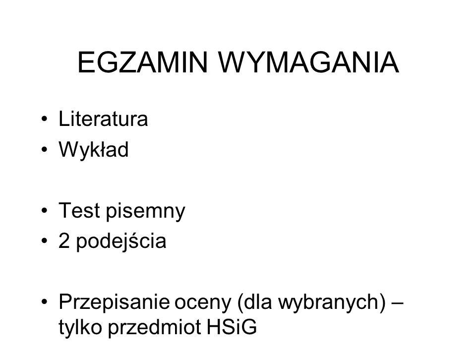 EGZAMIN WYMAGANIA Literatura Wykład Test pisemny 2 podejścia Przepisanie oceny (dla wybranych) – tylko przedmiot HSiG