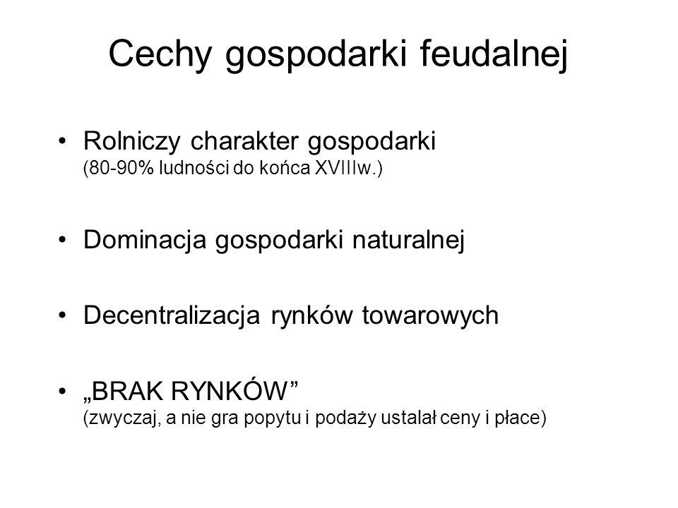 Cechy gospodarki feudalnej Rolniczy charakter gospodarki (80-90% ludności do końca XVIIIw.) Dominacja gospodarki naturalnej Decentralizacja rynków tow