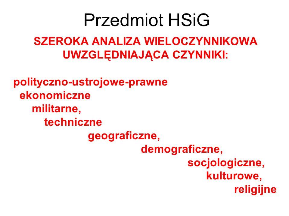 Przedmiot HSiG SZEROKA ANALIZA WIELOCZYNNIKOWA UWZGLĘDNIAJĄCA CZYNNIKI: polityczno-ustrojowe-prawne ekonomiczne militarne, techniczne geograficzne, de