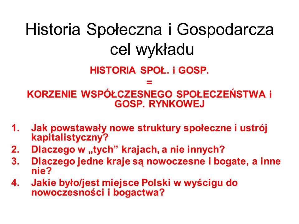 Historia Społeczna i Gospodarcza cel wykładu HISTORIA SPOŁ. i GOSP. = KORZENIE WSPÓŁCZESNEGO SPOŁECZEŃSTWA i GOSP. RYNKOWEJ 1.Jak powstawały nowe stru