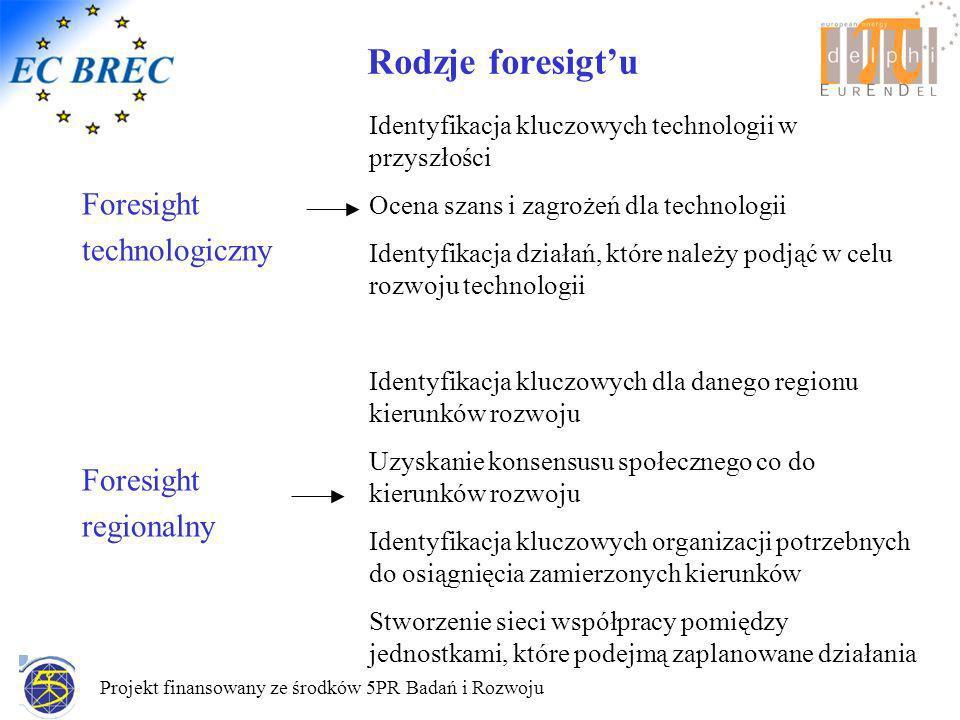 Projekt finansowany ze środków 5PR Badań i Rozwoju Rodzje foresigtu Foresight technologiczny Foresight regionalny Identyfikacja kluczowych technologii w przyszłości Ocena szans i zagrożeń dla technologii Identyfikacja działań, które należy podjąć w celu rozwoju technologii Identyfikacja kluczowych dla danego regionu kierunków rozwoju Uzyskanie konsensusu społecznego co do kierunków rozwoju Identyfikacja kluczowych organizacji potrzebnych do osiągnięcia zamierzonych kierunków Stworzenie sieci współpracy pomiędzy jednostkami, które podejmą zaplanowane działania