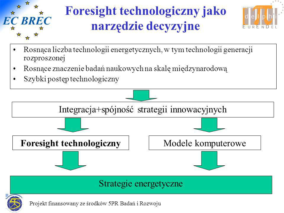 Projekt finansowany ze środków 5PR Badań i Rozwoju Foresight technologiczny jako narzędzie decyzyjne Rosnąca liczba technologii energetycznych, w tym technologii generacji rozproszonej Rosnące znaczenie badań naukowych na skalę międzynarodową Szybki postęp technologiczny Integracja+spójność strategii innowacyjnych Modele komputeroweForesight technologiczny Strategie energetyczne