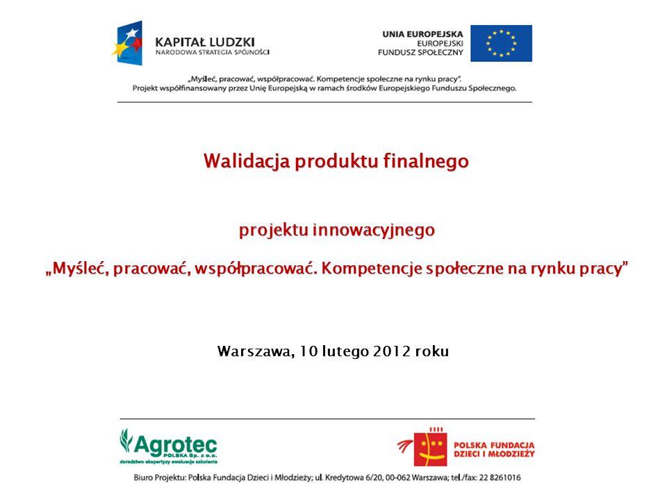 Walidacja produktu finalnego projektu innowacyjnego Myśleć, pracować, współpracować. Kompetencje społeczne na rynku pracy Warszawa, 10 lutego 2012 rok