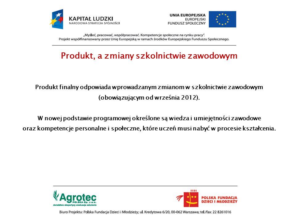 Produkt, a zmiany szkolnictwie zawodowym Produkt finalny odpowiada wprowadzanym zmianom w szkolnictwie zawodowym (obowiązującym od września 2012). W n