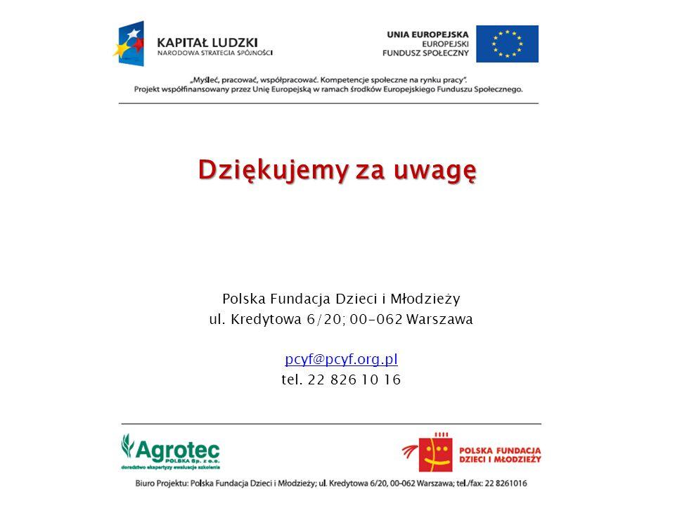Dziękujemy za uwagę Polska Fundacja Dzieci i Młodzieży ul. Kredytowa 6/20; 00-062 Warszawa pcyf@pcyf.org.pl tel. 22 826 10 16