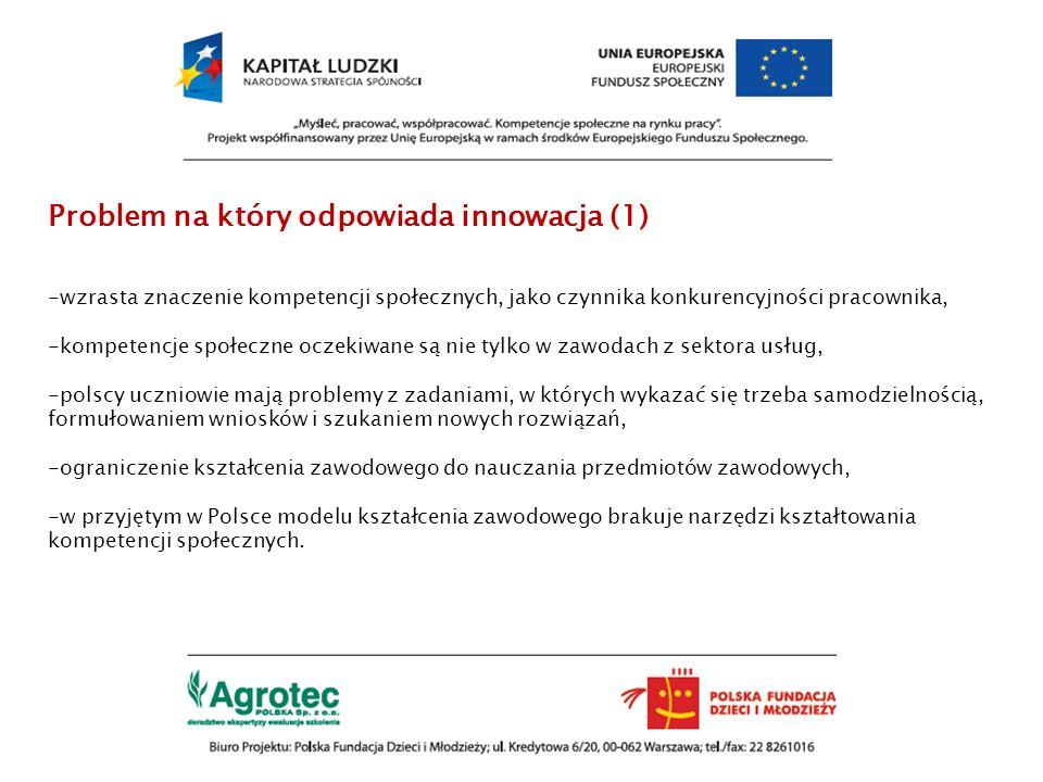 Problem na który odpowiada innowacja (1) -wzrasta znaczenie kompetencji społecznych, jako czynnika konkurencyjności pracownika, -kompetencje społeczne