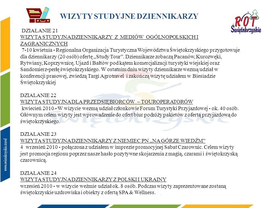 WIZYTY STUDYJNE DZIENNIKARZY DZIAŁANIE 21 WIZYTA STUDYJNA DZIENNIKARZY Z MEDIÓW OGÓLNOPOLSKICH I ZAGRANICZNYCH 7-10 kwietnia - Regionalna Organizacja Turystyczna Województwa Świętokrzyskiego przygotowuje dla dziennikarzy (20 osób) ofertę Study Tour.