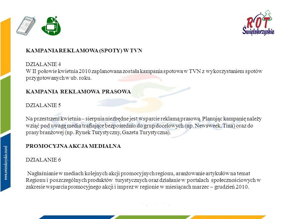 KAMPANIA REKLAMOWA (SPOTY) W TVN DZIAŁANIE 4 W II połowie kwietnia 2010 zaplanowana została kampania spotowa w TVN z wykorzystaniem spotów przygotowanych w ub.