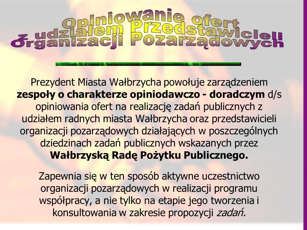 Prezydent Miasta Wałbrzycha powołuje zarządzeniem zespoły o charakterze opiniodawczo - doradczym d/s opiniowania ofert na realizację zadań publicznych z udziałem radnych miasta Wałbrzycha oraz przedstawicieli organizacji pozarządowych działających w poszczególnych dziedzinach zadań publicznych wskazanych przez Wałbrzyską Radę Pożytku Publicznego.
