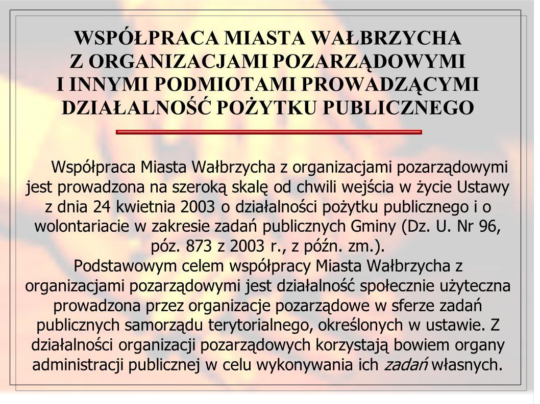 Współpraca Miasta Wałbrzycha z organizacjami pozarządowymi jest prowadzona na szeroką skalę od chwili wejścia w życie Ustawy z dnia 24 kwietnia 2003 o działalności pożytku publicznego i o wolontariacie w zakresie zadań publicznych Gminy (Dz.