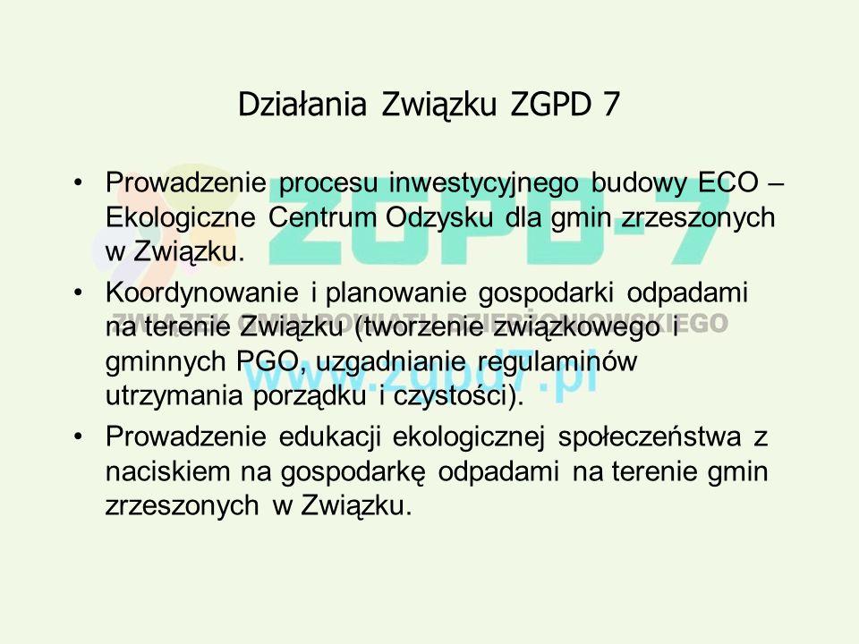 Działania Związku ZGPD 7 Prowadzenie procesu inwestycyjnego budowy ECO – Ekologiczne Centrum Odzysku dla gmin zrzeszonych w Związku.