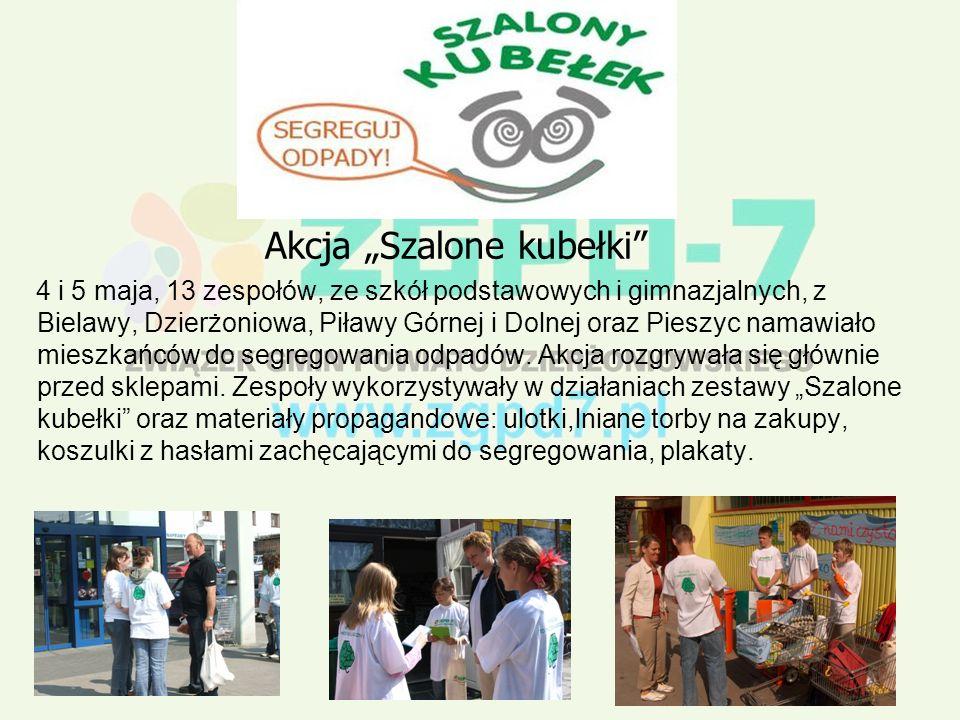 Akcja Szalone kubełki 4 i 5 maja, 13 zespołów, ze szkół podstawowych i gimnazjalnych, z Bielawy, Dzierżoniowa, Piławy Górnej i Dolnej oraz Pieszyc namawiało mieszkańców do segregowania odpadów.