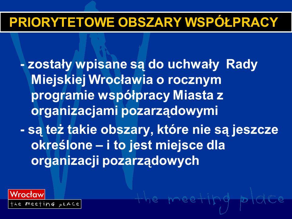PRIORYTETOWE OBSZARY WSPÓŁPRACY - zostały wpisane są do uchwały Rady Miejskiej Wrocławia o rocznym programie współpracy Miasta z organizacjami pozarządowymi - są też takie obszary, które nie są jeszcze określone – i to jest miejsce dla organizacji pozarządowych