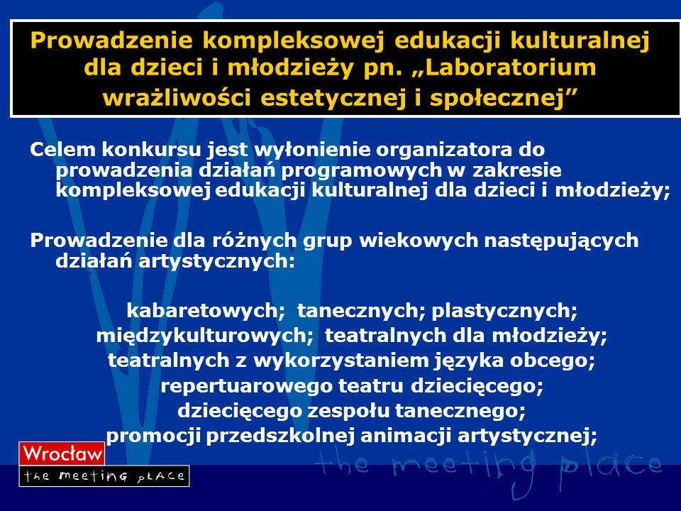 Prowadzenie kompleksowej edukacji kulturalnej dla dzieci i młodzieży pn.