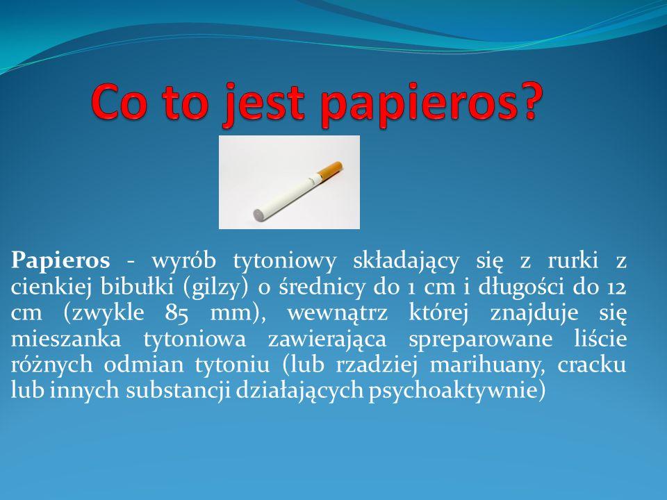 Papieros - wyrób tytoniowy składający się z rurki z cienkiej bibułki (gilzy) o średnicy do 1 cm i długości do 12 cm (zwykle 85 mm), wewnątrz której zn