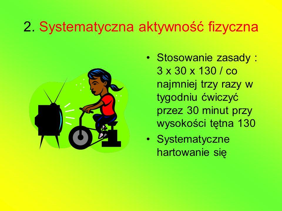 2. Systematyczna aktywność fizyczna Stosowanie zasady : 3 x 30 x 130 / co najmniej trzy razy w tygodniu ćwiczyć przez 30 minut przy wysokości tętna 13