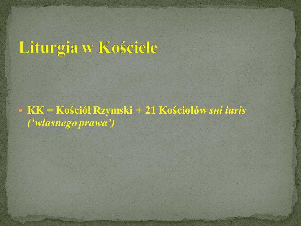 KK = Kościół Rzymski + 21 Kościołów sui iuris (własnego prawa)