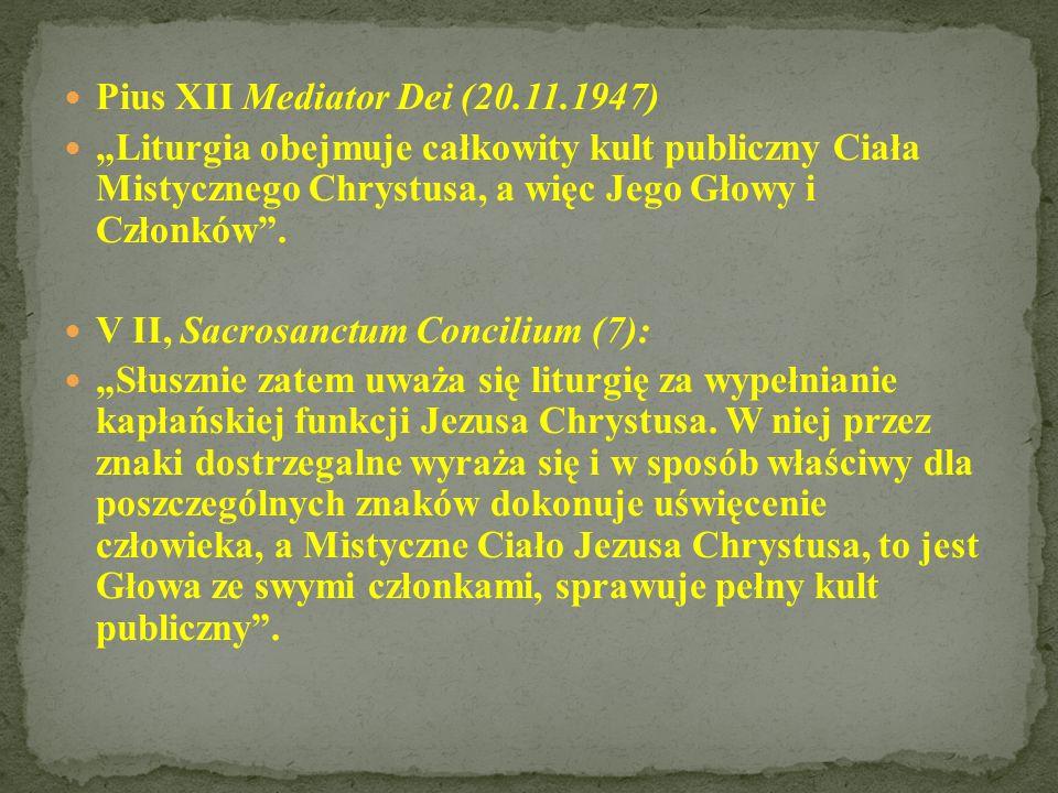 - wykonywaniem kapłańskiego urzędu Chrystusa - uobecnieniem misterium paschalnego; - antycypacją liturgii niebieskiej i uczestnictwem w niej na ziemi.