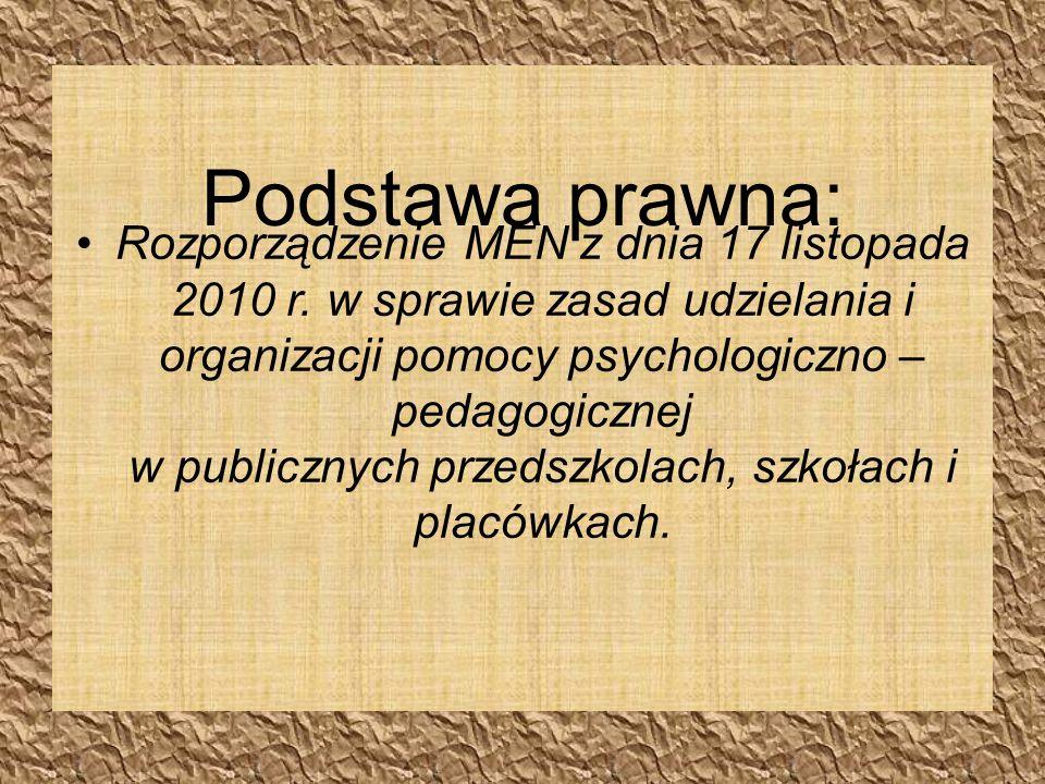 Podstawa prawna: Rozporządzenie MEN z dnia 17 listopada 2010 r.
