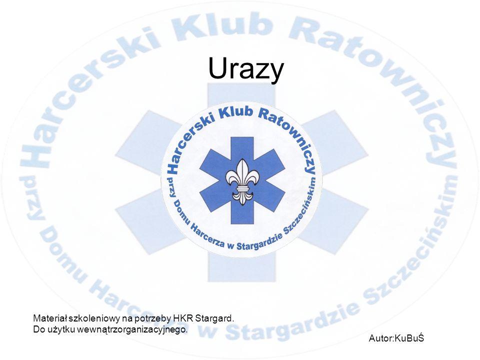 Urazy Materiał szkoleniowy na potrzeby HKR Stargard. Do użytku wewnątrzorganizacyjnego. Autor:KuBuŚ