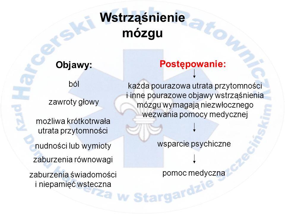 Objawy: Wstrząśnienie mózgu ból Postępowanie: zawroty głowy możliwa krótkotrwała utrata przytomności pomoc medyczna wsparcie psychiczne nudności lub w