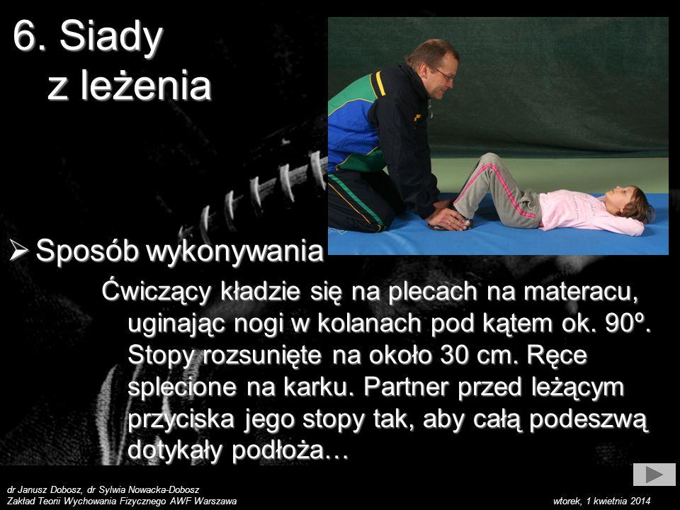 dr Janusz Dobosz, dr Sylwia Nowacka-Dobosz Zakład Teorii Wychowania Fizycznego AWF Warszawa wtorek, 1 kwietnia 2014 Sposób wykonywania Sposób wykonywania Ćwiczący kładzie się na plecach na materacu, uginając nogi w kolanach pod kątem ok.