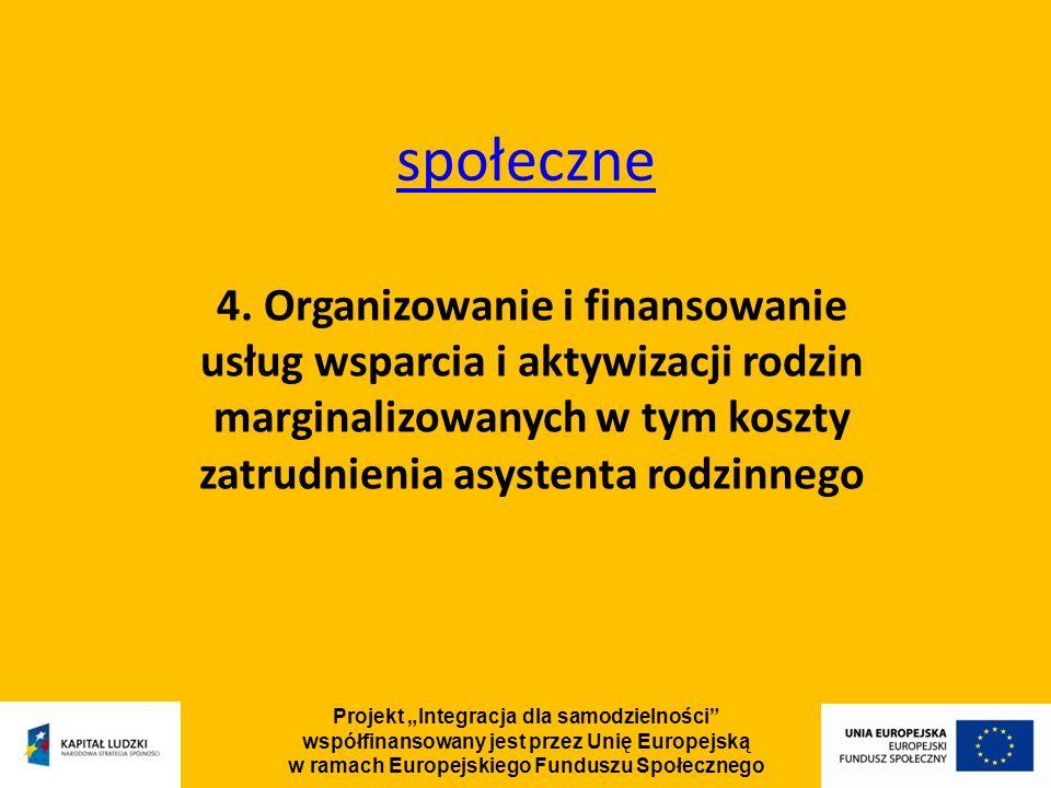 Projekt Integracja dla samodzielności współfinansowany jest przez Unię Europejską w ramach Europejskiego Funduszu Społecznego społeczne 4.
