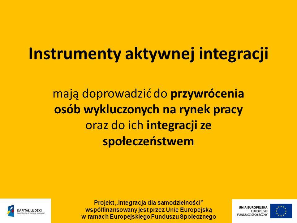 Projekt Integracja dla samodzielności współfinansowany jest przez Unię Europejską w ramach Europejskiego Funduszu Społecznego Instrumenty aktywnej integracji mają doprowadzić do przywrócenia osób wykluczonych na rynek pracy oraz do ich integracji ze społeczeństwem