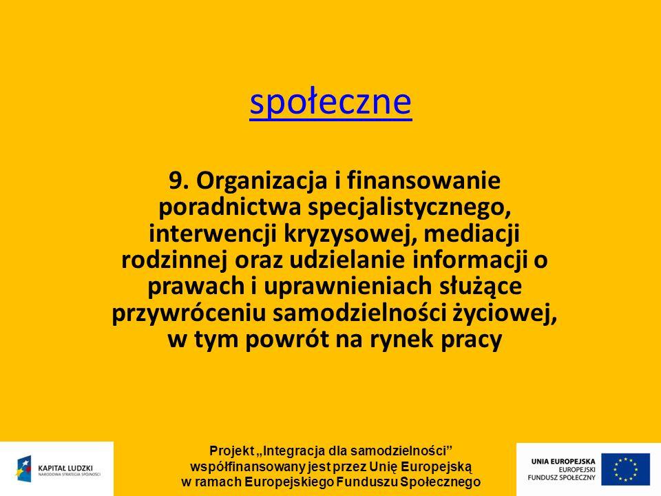 Projekt Integracja dla samodzielności współfinansowany jest przez Unię Europejską w ramach Europejskiego Funduszu Społecznego społeczne 9.
