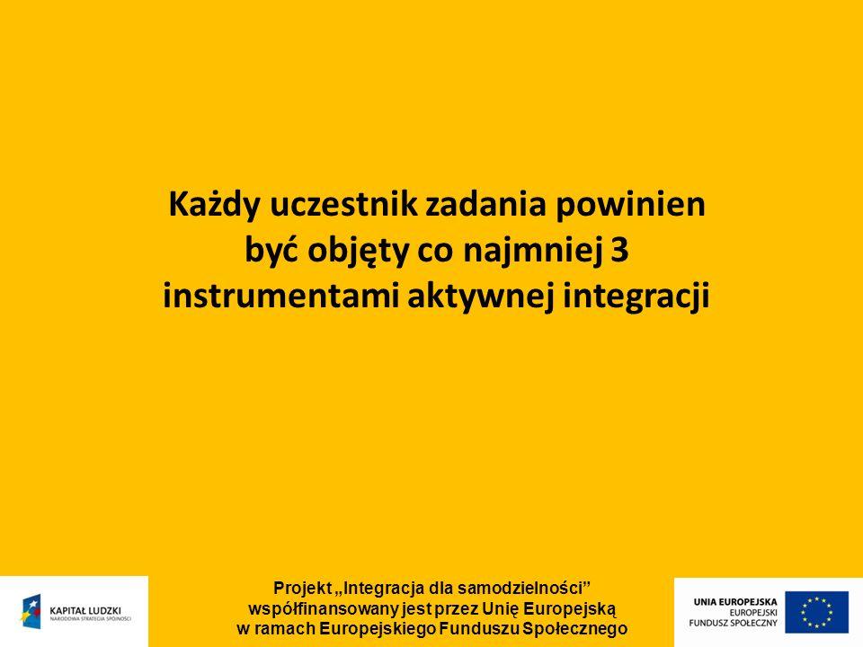 Projekt Integracja dla samodzielności współfinansowany jest przez Unię Europejską w ramach Europejskiego Funduszu Społecznego Każdy uczestnik zadania powinien być objęty co najmniej 3 instrumentami aktywnej integracji