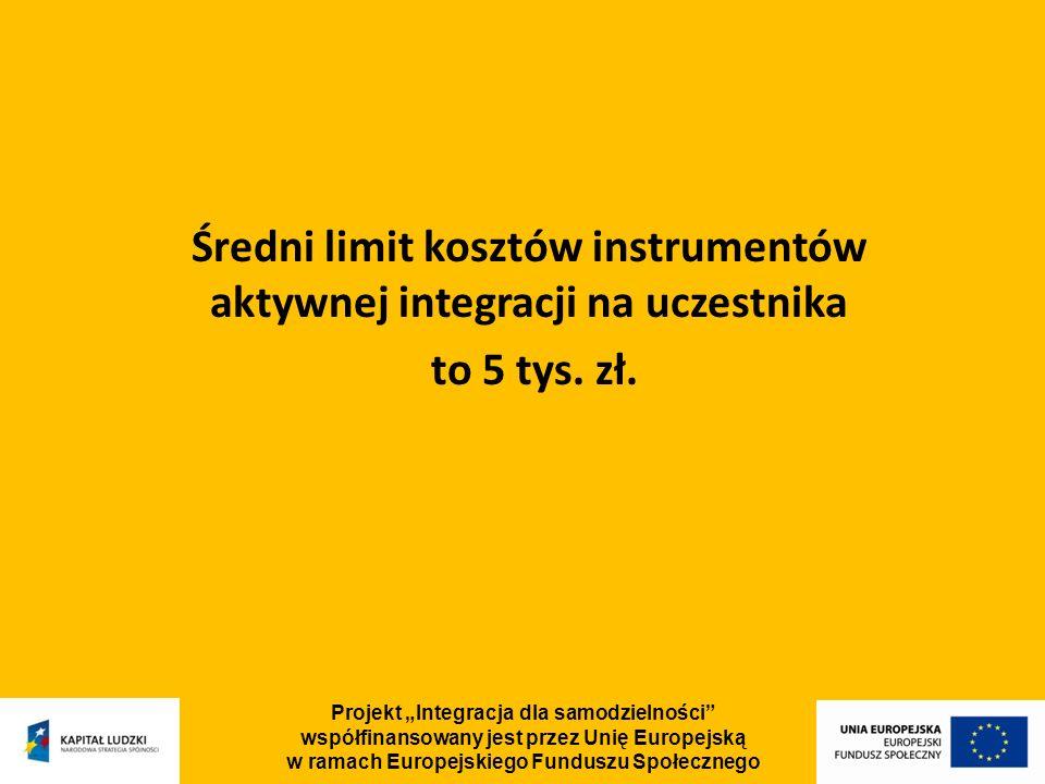 Projekt Integracja dla samodzielności współfinansowany jest przez Unię Europejską w ramach Europejskiego Funduszu Społecznego Średni limit kosztów instrumentów aktywnej integracji na uczestnika to 5 tys.