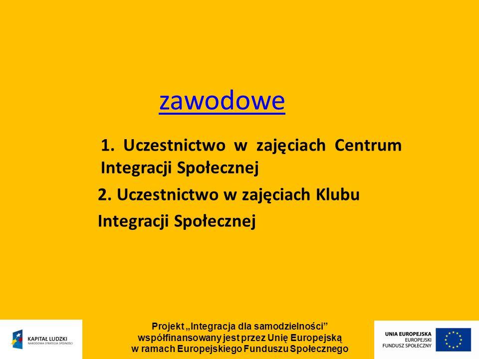 Projekt Integracja dla samodzielności współfinansowany jest przez Unię Europejską w ramach Europejskiego Funduszu Społecznego zawodowe 1.
