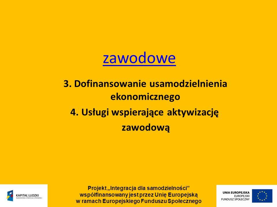 Projekt Integracja dla samodzielności współfinansowany jest przez Unię Europejską w ramach Europejskiego Funduszu Społecznego zawodowe 3.