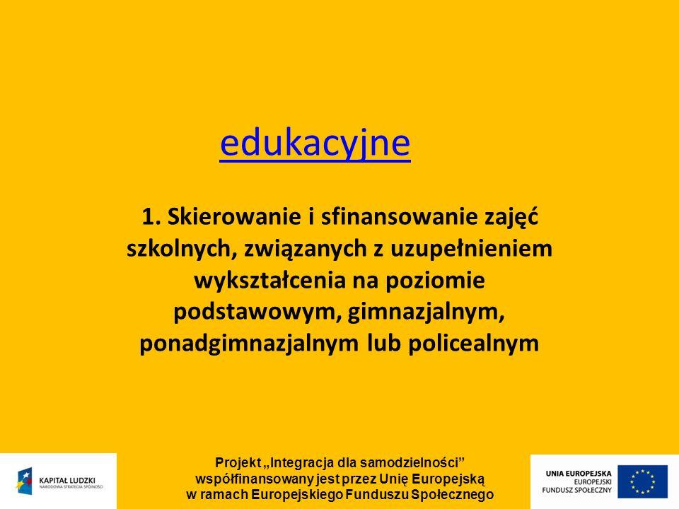 Projekt Integracja dla samodzielności współfinansowany jest przez Unię Europejską w ramach Europejskiego Funduszu Społecznego edukacyjne 1.