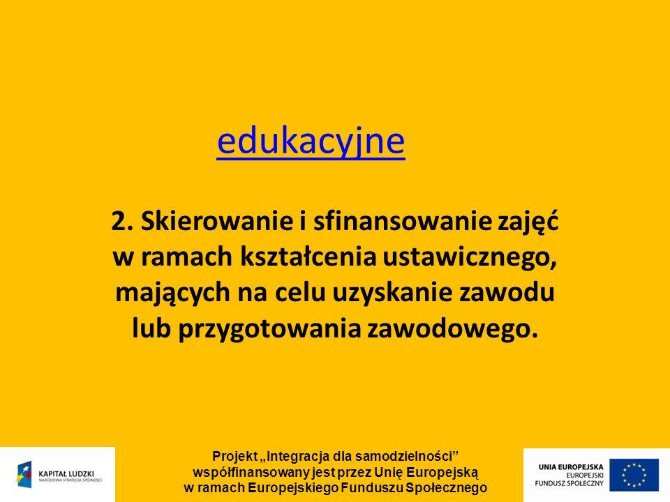 Projekt Integracja dla samodzielności współfinansowany jest przez Unię Europejską w ramach Europejskiego Funduszu Społecznego edukacyjne 2.