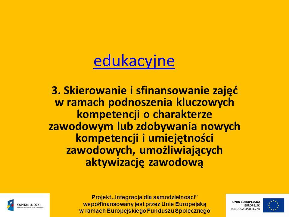 Projekt Integracja dla samodzielności współfinansowany jest przez Unię Europejską w ramach Europejskiego Funduszu Społecznego edukacyjne 3.