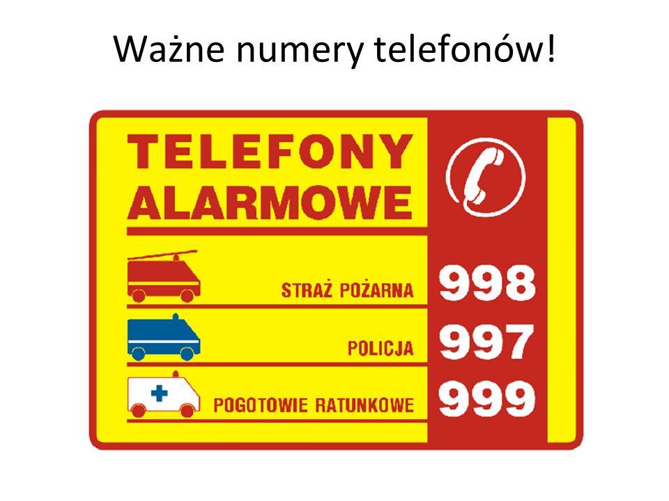 Ważne numery telefonów!