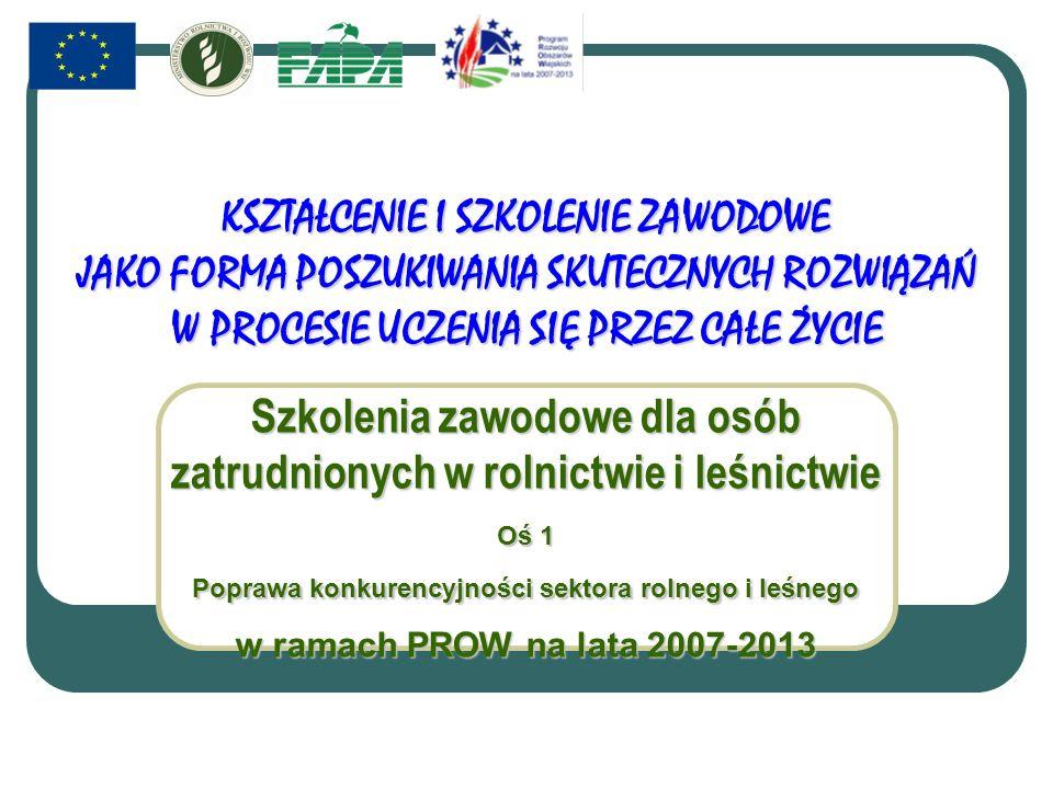 KSZTAŁCENIE I SZKOLENIE ZAWODOWE JAKO FORMA POSZUKIWANIA SKUTECZNYCH ROZWIĄZAŃ W PROCESIE UCZENIA SIĘ PRZEZ CAŁE ŻYCIE Szkolenia zawodowe dla osób zatrudnionych w rolnictwie i leśnictwie Oś 1 Poprawa konkurencyjności sektora rolnego i leśnego w ramach PROW na lata 2007-2013