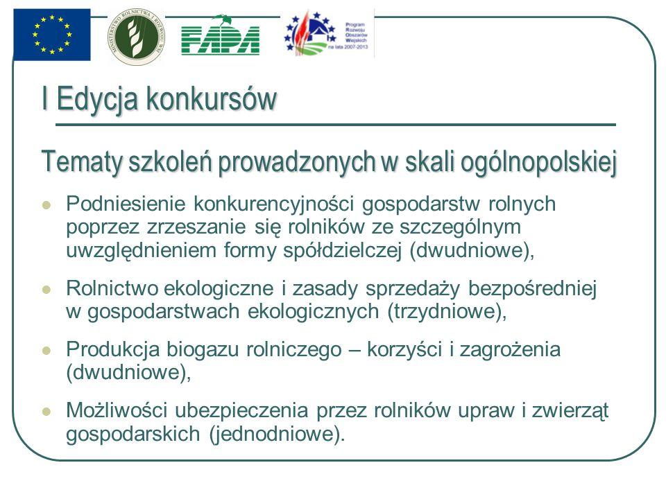 I Edycja konkursów Tematy szkoleń prowadzonych w skali ogólnopolskiej Podniesienie konkurencyjności gospodarstw rolnych poprzez zrzeszanie się rolników ze szczególnym uwzględnieniem formy spółdzielczej (dwudniowe), Rolnictwo ekologiczne i zasady sprzedaży bezpośredniej w gospodarstwach ekologicznych (trzydniowe), Produkcja biogazu rolniczego – korzyści i zagrożenia (dwudniowe), Możliwości ubezpieczenia przez rolników upraw i zwierząt gospodarskich (jednodniowe).