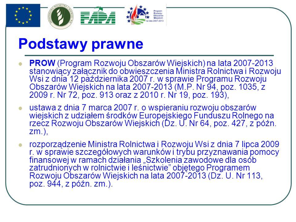 Podstawy prawne PROW (Program Rozwoju Obszarów Wiejskich) na lata 2007-2013 stanowiący załącznik do obwieszczenia Ministra Rolnictwa i Rozwoju Wsi z dnia 12 października 2007 r.