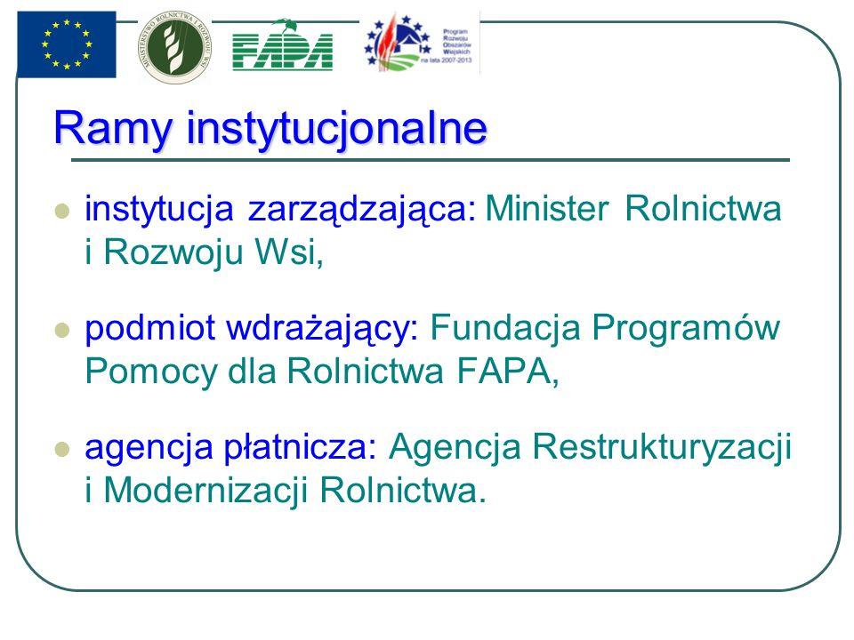Ramy instytucjonalne instytucja zarządzająca: Minister Rolnictwa i Rozwoju Wsi, podmiot wdrażający: Fundacja Programów Pomocy dla Rolnictwa FAPA, agencja płatnicza: Agencja Restrukturyzacji i Modernizacji Rolnictwa.