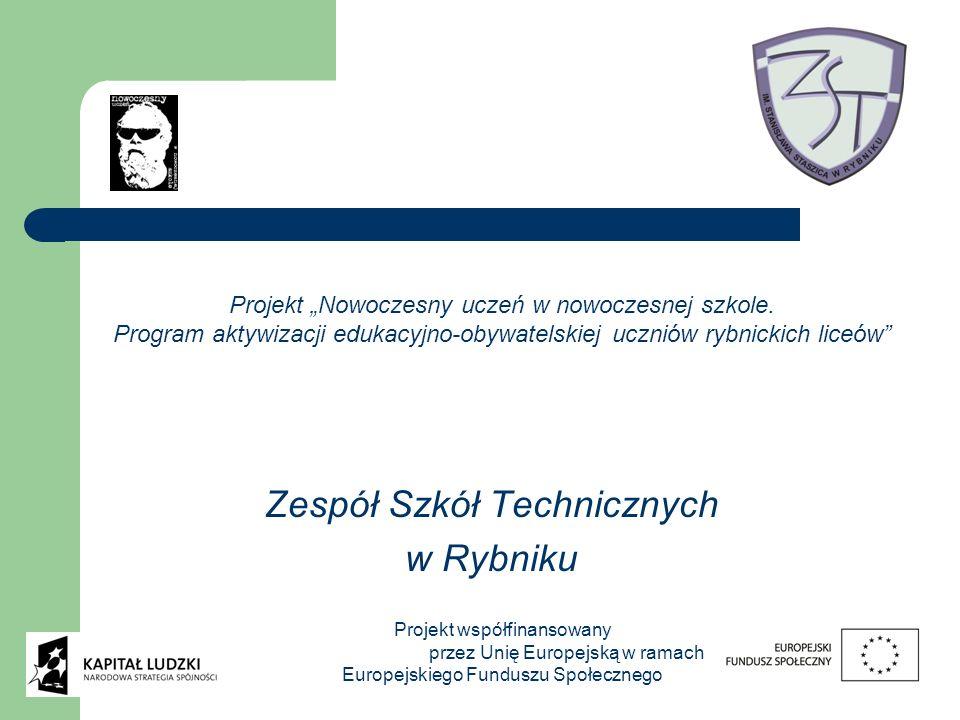 Zespół Szkół Technicznych w Rybniku Projekt Nowoczesny uczeń w nowoczesnej szkole. Program aktywizacji edukacyjno-obywatelskiej uczniów rybnickich lic