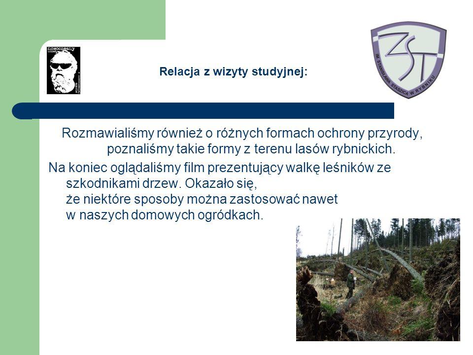 Rozmawialiśmy również o różnych formach ochrony przyrody, poznaliśmy takie formy z terenu lasów rybnickich. Na koniec oglądaliśmy film prezentujący wa
