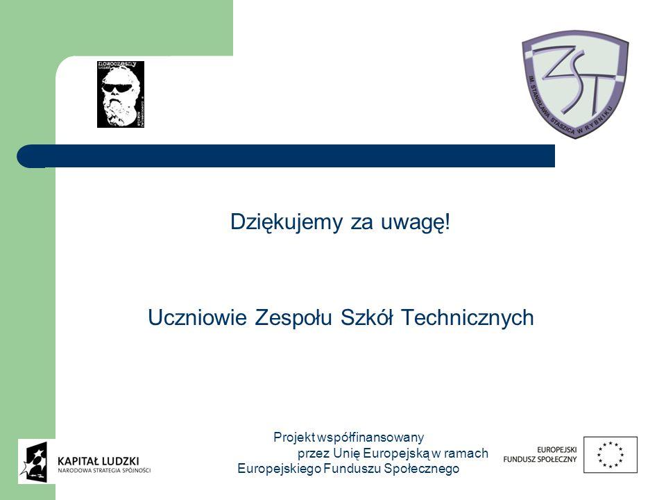 Dziękujemy za uwagę! Uczniowie Zespołu Szkół Technicznych Projekt współfinansowany przez Unię Europejską w ramach Europejskiego Funduszu Społecznego