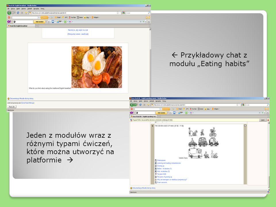 Przykładowy chat z modułu Eating habits Jeden z modułów wraz z różnymi typami ćwiczeń, które można utworzyć na platformie