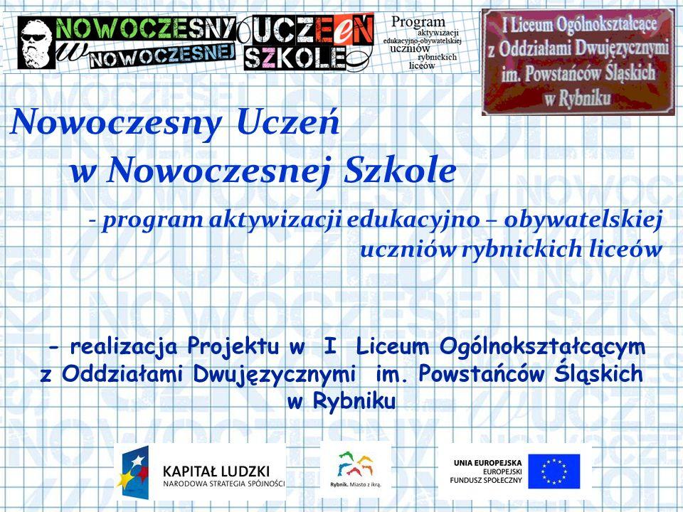 Nowoczesny Uczeń - program aktywizacji edukacyjno – obywatelskiej uczniów rybnickich liceów - realizacja Projektu w I Liceum Ogólnokształcącym z Oddziałami Dwujęzycznymi im.