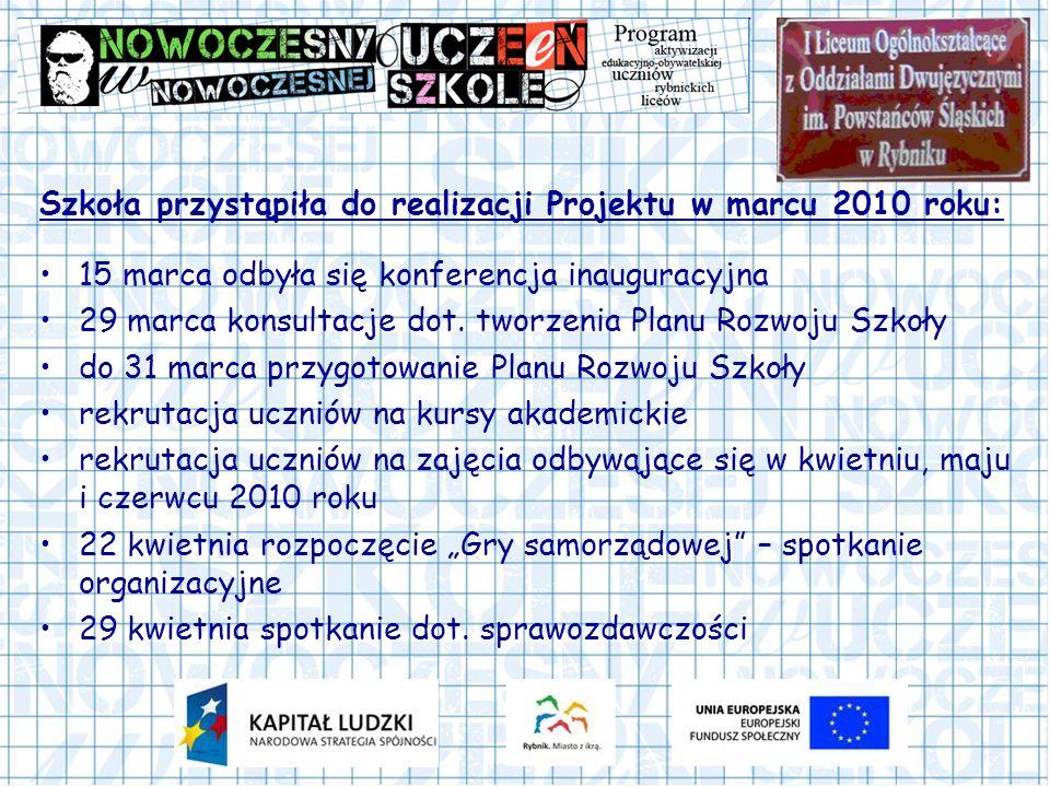 Szkoła przystąpiła do realizacji Projektu w marcu 2010 roku: 15 marca odbyła się konferencja inauguracyjna 29 marca konsultacje dot.
