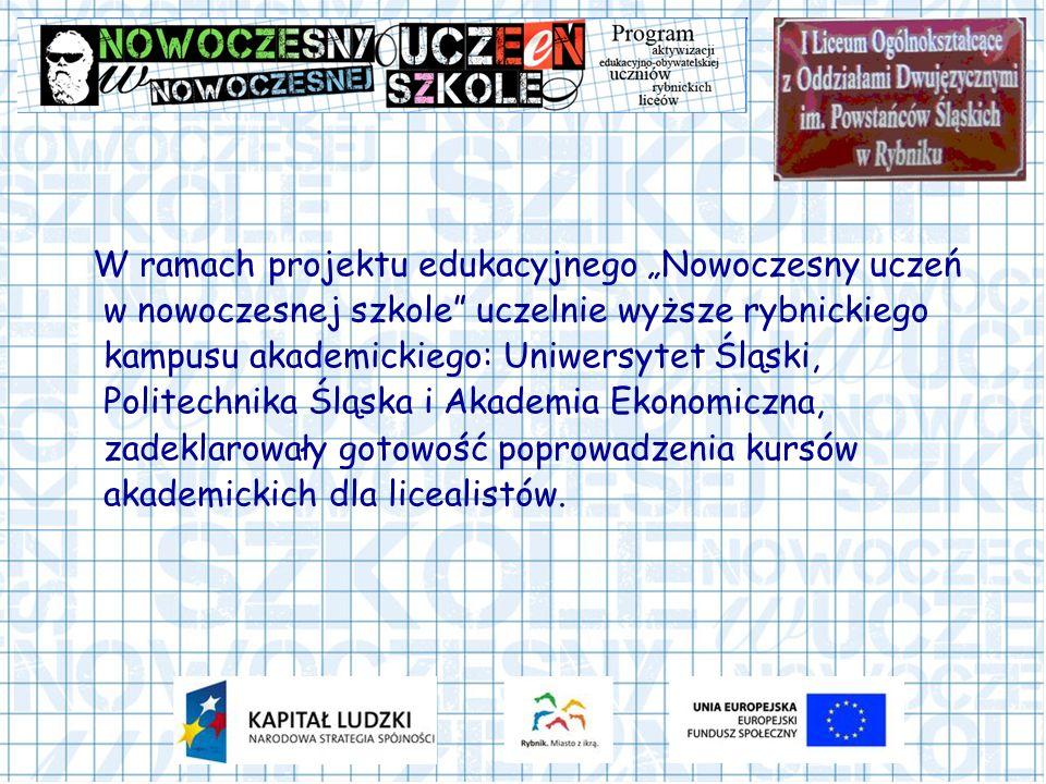W ramach projektu edukacyjnego Nowoczesny uczeń w nowoczesnej szkole uczelnie wyższe rybnickiego kampusu akademickiego: Uniwersytet Śląski, Politechni