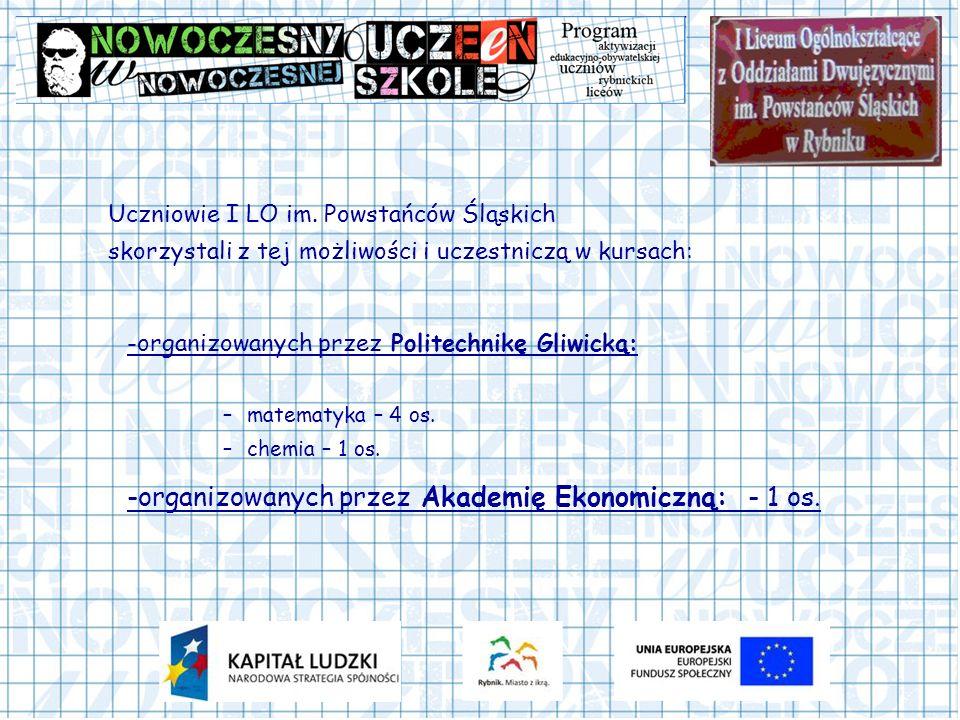 Uczniowie I LO im. Powstańców Śląskich skorzystali z tej możliwości i uczestniczą w kursach: -organizowanych przez Politechnikę Gliwicką: –matematyka